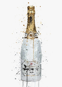 Champagne Bottle Wall Art Print 'Blanc'-We Love Prints