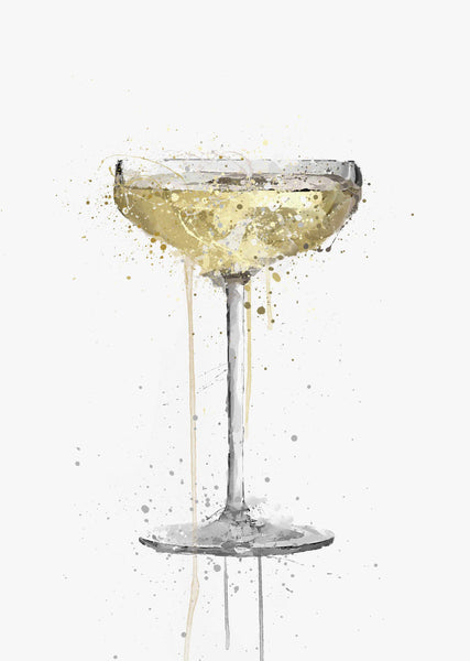 Champagne Coupe Cocktail Wall Art Print