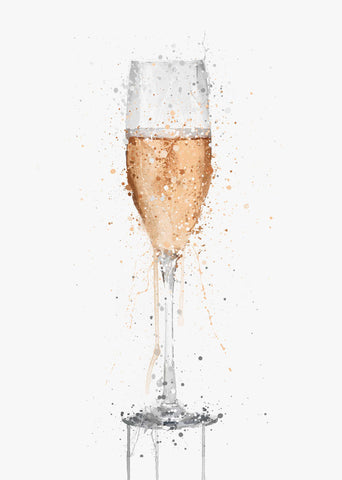 Champagne Flute 'Rose' Wall Art Print