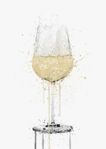 White Wine Glass Wall Art Print