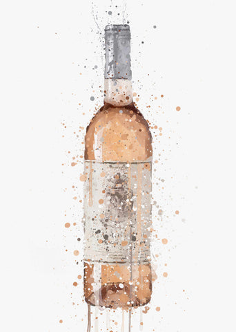 Rose Wine Bottle Wall Art Print