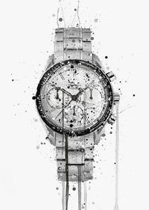 Wrist Watch Wall Art Print 'Gun Metal'