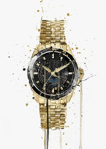 Wrist Watch Wall Art Print 'Antique Gold'