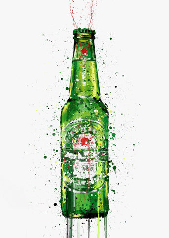 Beer Bottle Wall Art Print 'Malachite'