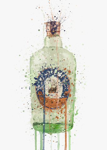 Gin Bottle Wall Art Print 'Sea Glass'