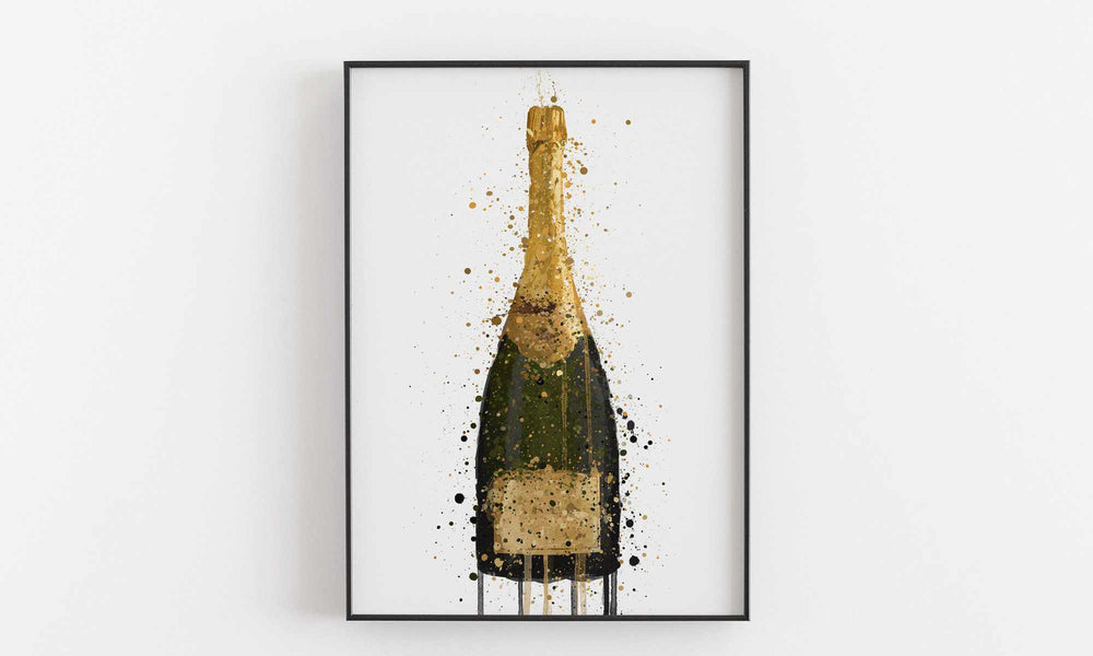 Champagne Bottle Wall Art Print 'Fool's Gold'