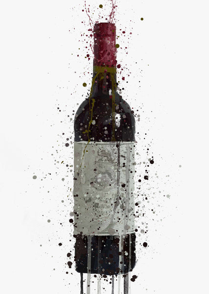 Red Wine Bottle Wall Art Print 'Tinto'