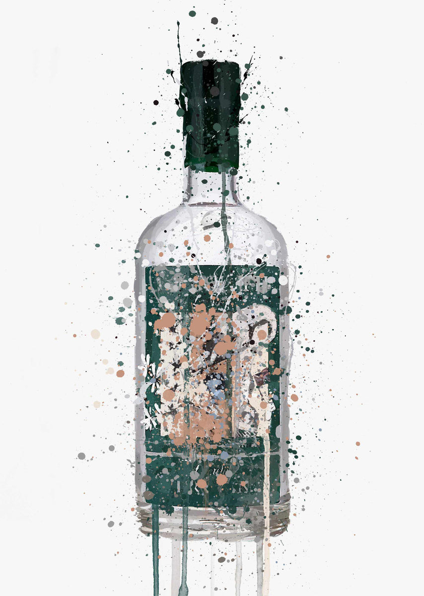 Gin Bottle Wall Art Print Deep Pine We Love Prints Ltd