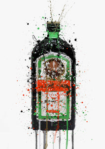 Liqueur Bottle Wall Art Print 'Green Ink'