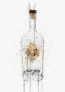 Gin Bottle Wall Art Print 'Bombshell'