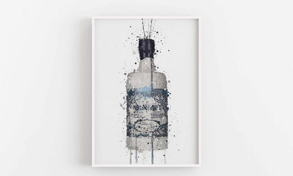 Gin Bottle Wall Art Print 'Rock Pool'