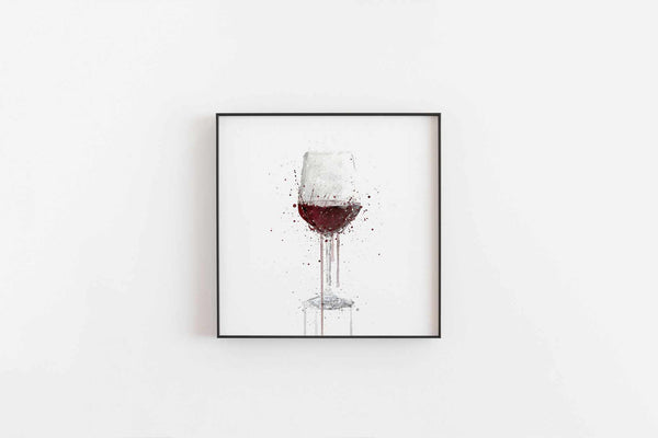 Red Wine Glass Wall Art Print