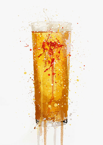 Pint Glass Wall Art Print 'Golden Glow'