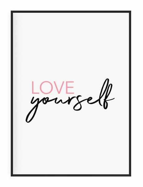 Typographic Wall Art Print 'Love Yourself'