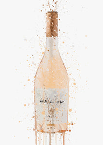 Rose Wine Bottle Wall Art Print 'Peach Dream'