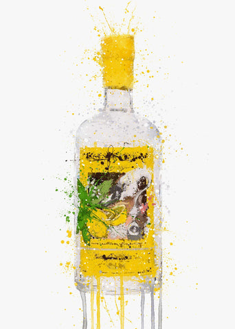 Gin Bottle Wall Art Print 'Zest'