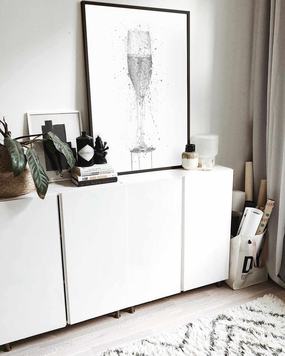 Champagne Flute Wall Art Print (Grey Edition)