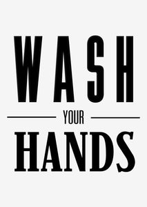 Typographic Wall Art Print 'Wash Your Hands'