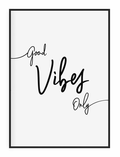 Typographic Wall Art Print 'Good Vibes Only'
