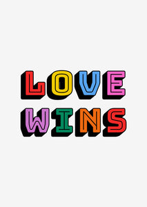 Typographic Wall Art Print 'Love Wins'