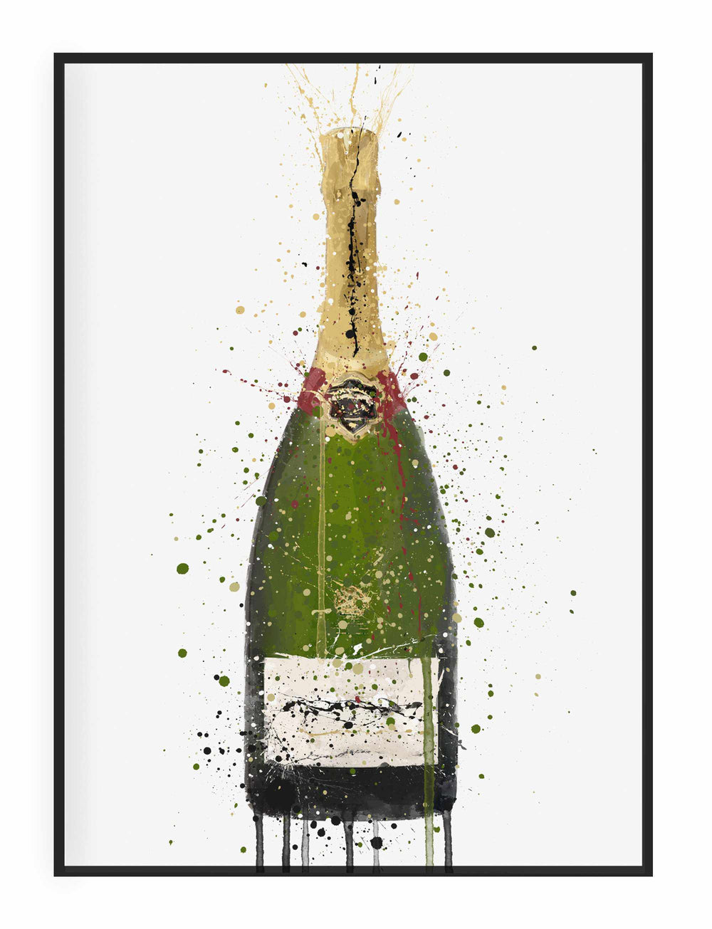 Champagne Bottle Wall Art Print 'Olive Green'