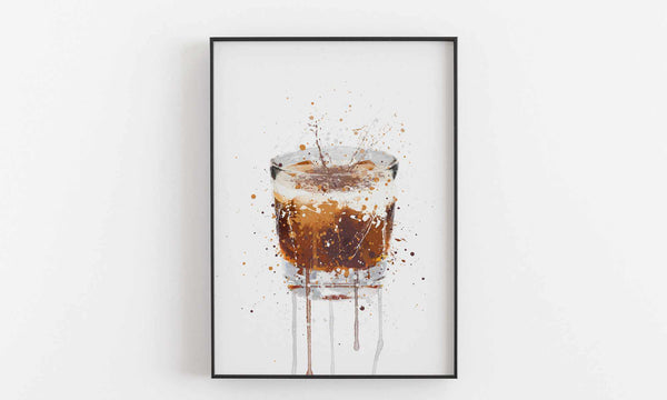 White Russian Cocktail Wall Art Print