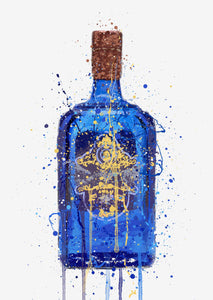 Gin Bottle Wall Art Print 'Royal Blue'