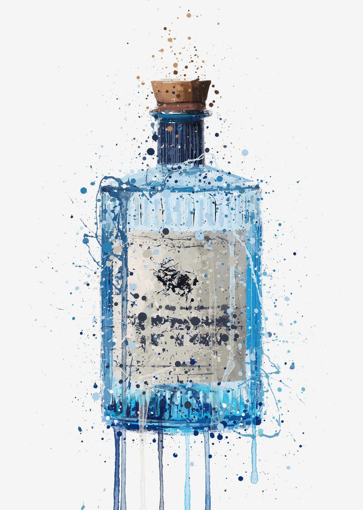 Gin Bottle Wall Art Print 'Blue Barrel'