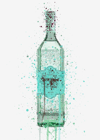 Gin Bottle Wall Art Print 'Duck Egg Blue'