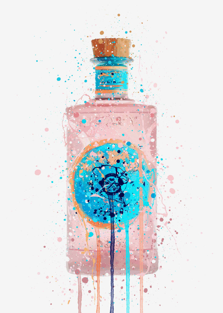 Gin Bottle Wall Art Print 'Bubblegum'
