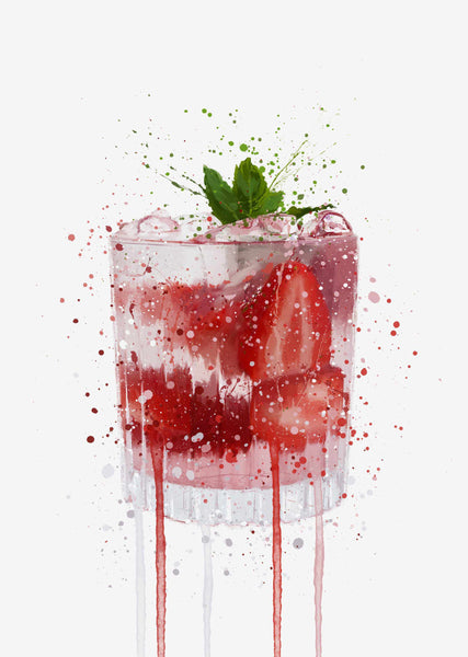 Gin and Tonic 'Strawberry & Mint' Wall Art Print