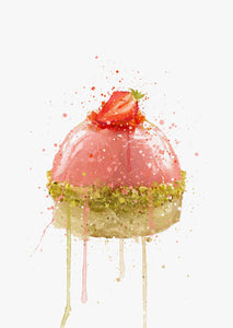 Patisserie Wall Art Print 'Strawberry and Pistachio Dome'