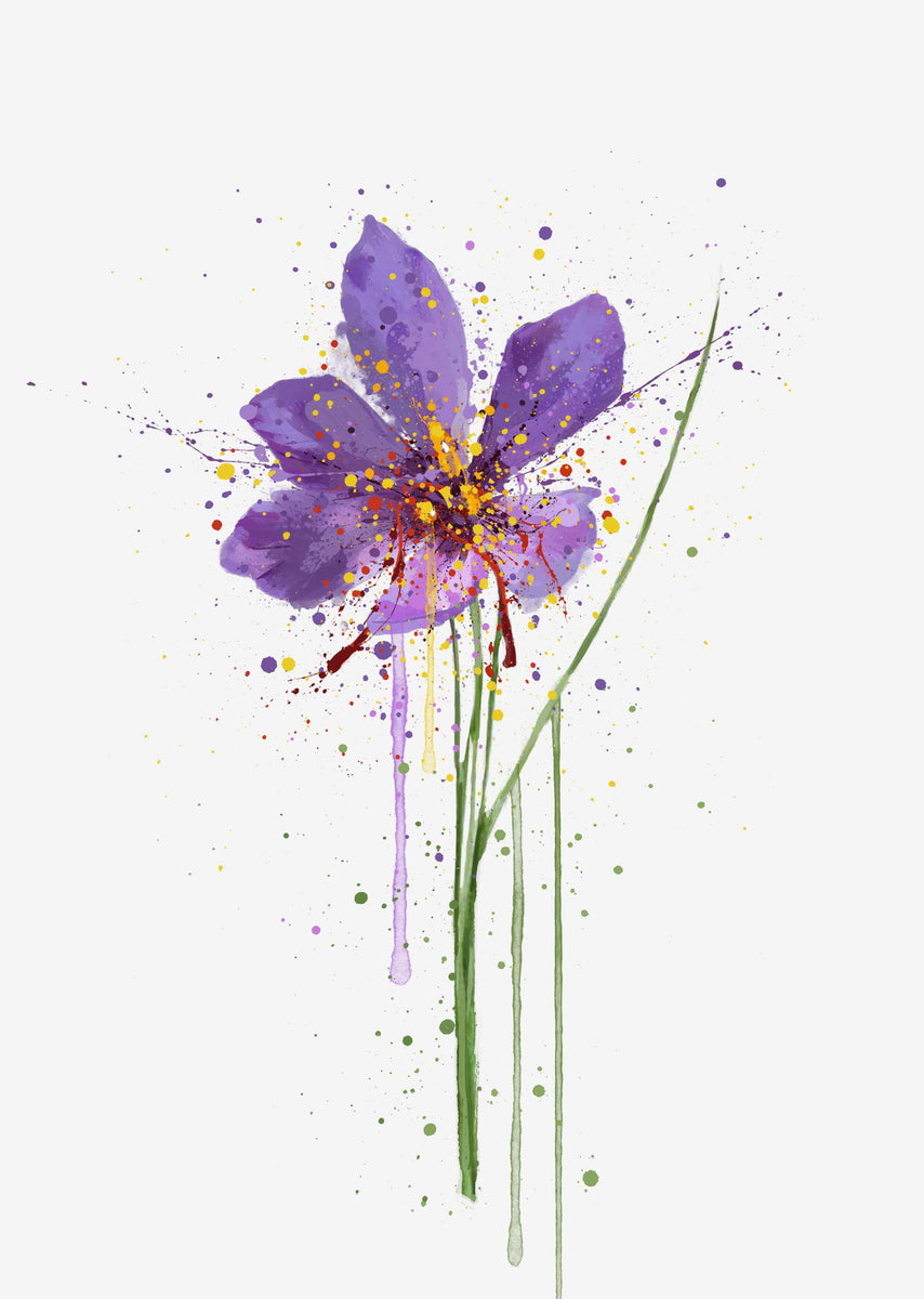 Flower Wall Art Print Saffron We Love Prints Ltd