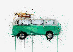 Retro Camper Van Wall Art Print