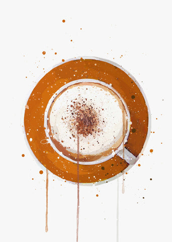 Coffee Wall Art Print 'Cappuccino Orange'