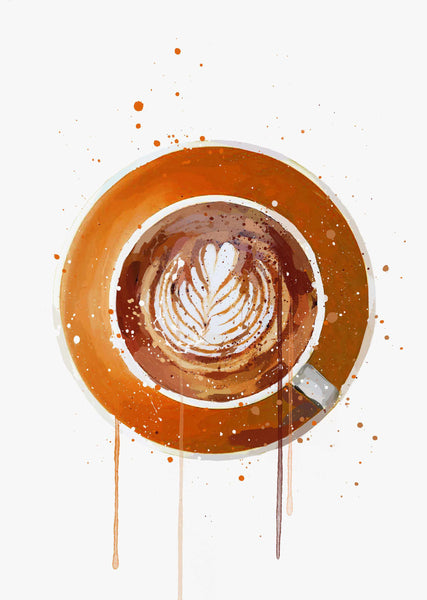 Coffee Wall Art Print 'Flat White Orange'