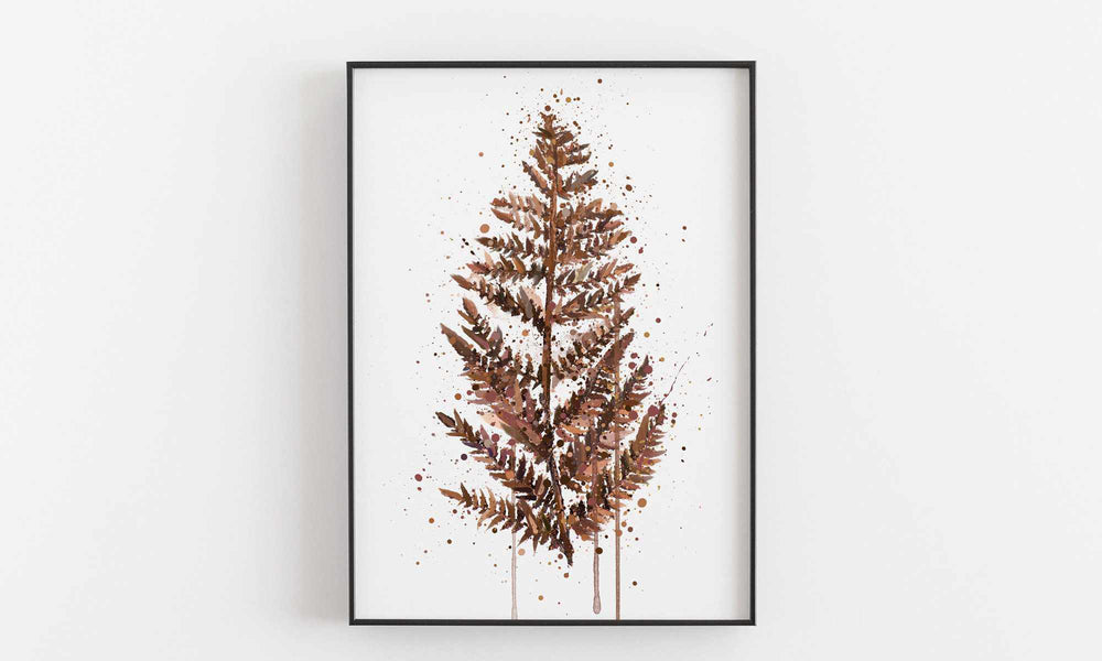 Fern Leaf Wall Art Print (Brown)