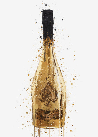 Champagne Bottle Wall Art Print 'Midas'