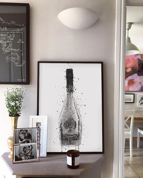 Champagne Bottle Wall Art Print 'Titanium'