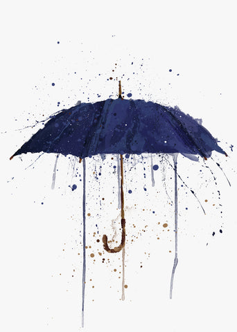 Navy Blue Umbrella Wall Art Print