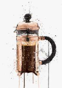 Cafetière Wall Art Print 'Rose Gold'