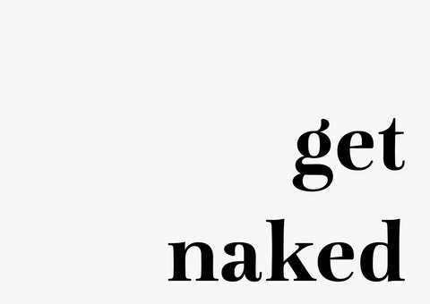 Typographic Wall Art Print 'Get Naked' (Horizontal)