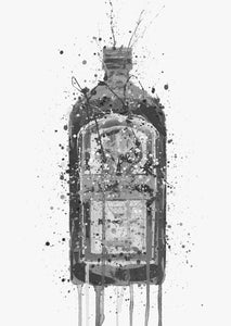 Liqueur Bottle Wall Art Print 'Green Ink' (Grey Edition)