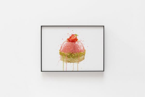 Patisserie Wall Art Print 'Strawberry and Pistachio Dome' (Horizontal)