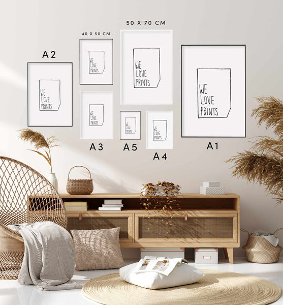 Typographic Wall Art Print 'Get Naked'