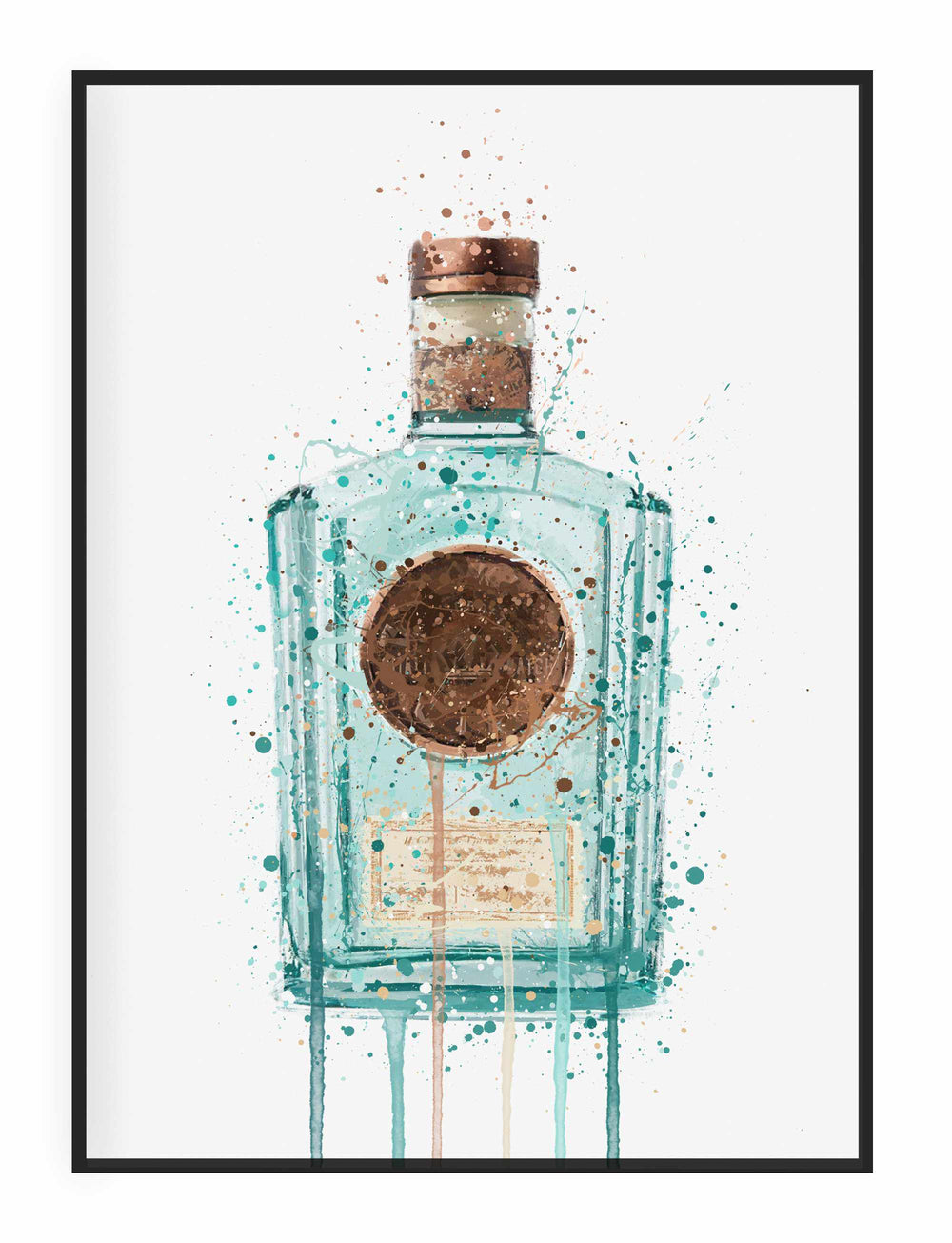 Gin Bottle Wall Art Print 'Art Deco'