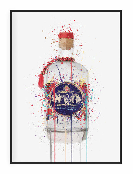 Gin Bottle Wall Art Print 'Tusk'