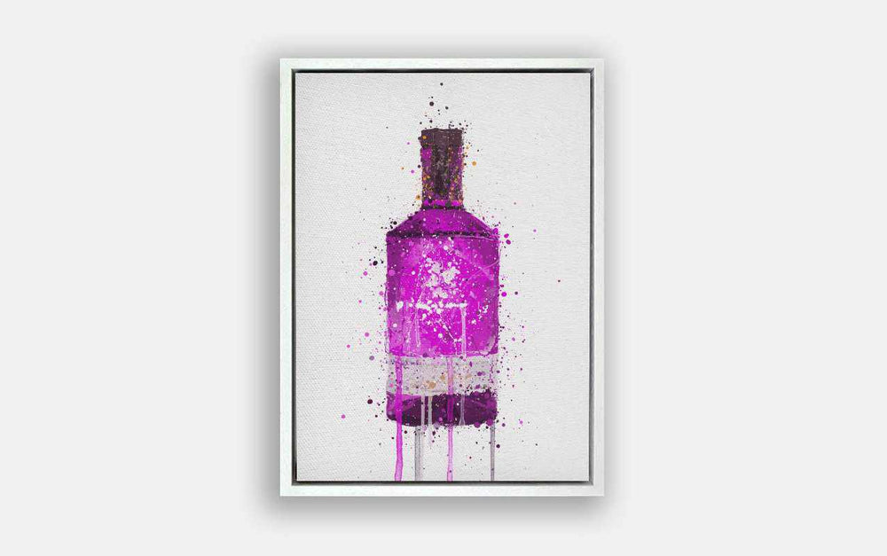 Premium Canvas Wall Art Print Gin Bottle 'Magenta'-We Love Prints