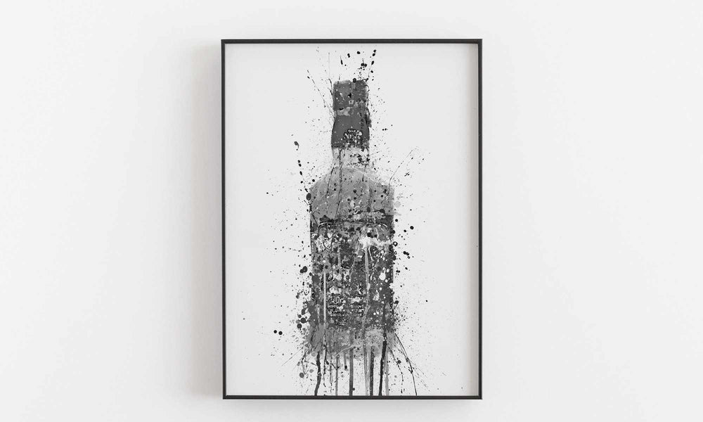 Whiskey Bottle Wall Art Print 'Umber' (Grey Edition)