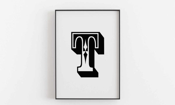 Typographic Wall Art Print 'T'